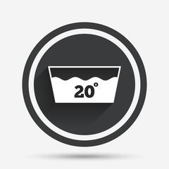 Wash icon. Machine washable at 20 degrees symbol.