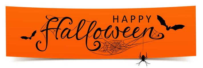 Happy Halloween - Banner mit kalligrafischen Schriftzug, Fledermäusen und Spinnennetz