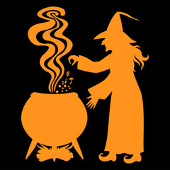 Witch brews a potion in a cauldron on black background