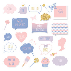 Cute hand drawn speech bubbles and frames with hand written words. Girly stickers set with gold glitter. Happy Birthday, Thank You, Good Morning, Welcome and Hello lettering.
