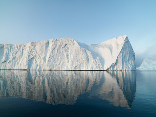 big glaciers are on the arctic ocean at Greenland