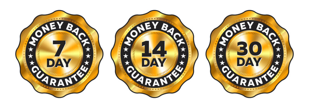Money Back Guarantee Labels - 7 Day - 14 Day - 30 Day