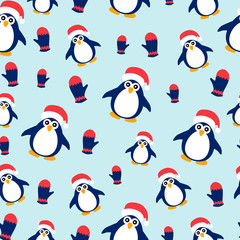 Penguins and mittens on a blue background.