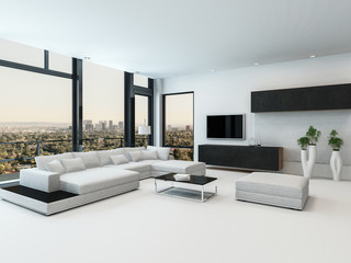 Stylish modern black and white living room