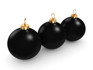 3D rendering Black Christmas ball