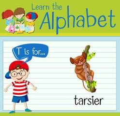 Flashcard letter T is for tarsier