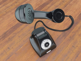 3D rendering old black phone