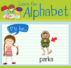 Flashcard letter P is for parka