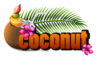 Poster design with fresh coconut and wording