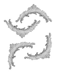 Gypsum bagetnye frames and elements, isolated