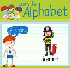 Flashcard letter F is for fireman