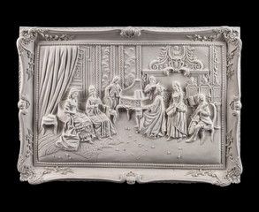 Gypsum dimensional picture with biblical scenes and the Last Supper Way to Calvary.