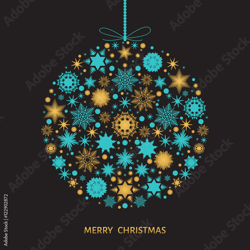 """Christmas Tree Decoration Elements: """"Christmas Tree Decoration With Gold Snowflakes And Xmas"""