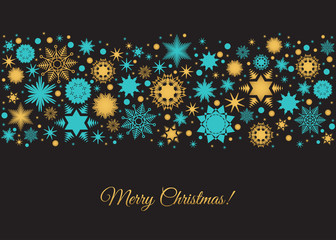 Fotomurales - Merry Christmas card  background with  gold snowflakes  and deco