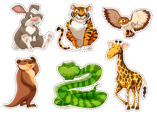 Sticker set of wild animals