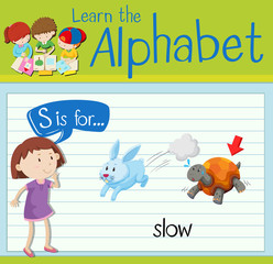 Flashcard letter S is for slow