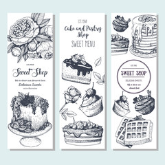 Sweet shop banner collection. Vertical banner set. Hand drawn cake, pie, ice cream and wafers. Engraved style illustration. Confectionery background. Linear graphic. Vintage design template.