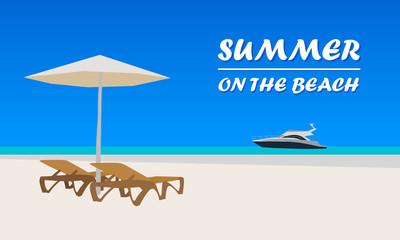 Summer beach vector card, flat design