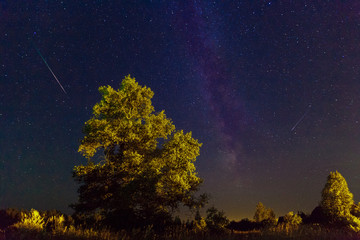 The Milky Way. A beautiful August summer night sky with stars on
