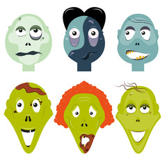 Zombie faces set Vector illustration Six different zombie faces in comic style
