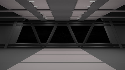 Sci-Fi corridor interior design.3D rendering