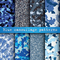 Set of 8 blue camouflage patterns vector