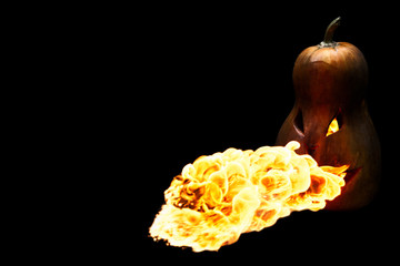 scary Halloween pumpkin is spewing fire flame isolated on black
