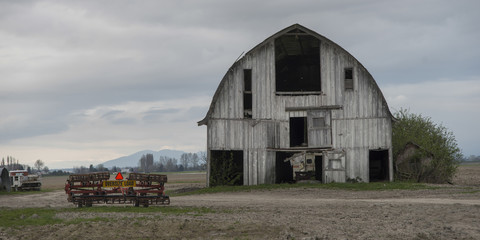 Barn in a field, Mount Vernon, Skagit County, Washington State,