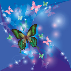 Bright glowing abstract background blue - violet with butterflie