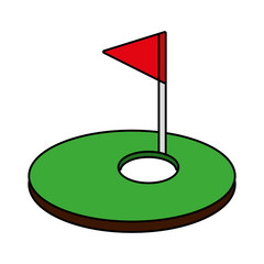 hole golf sport with flag icon vector illustration design