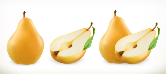 Pear. Sweet fruit. 3d vector icons set. Realistic illustration