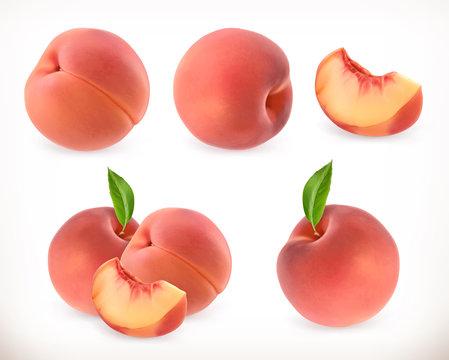 Peach. Sweet fruit. 3d vector icons set. Realistic illustration