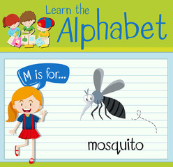 Flashcard letter M is for mosquito