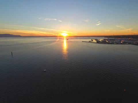 Bellingham, Washington Bay and Harbor at Sunset