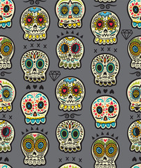 Mexican day of the dead. Colorful skull cute pattern