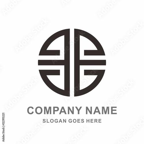 geometric morocco ornament decoration circle letter e reflection line vector logo design template