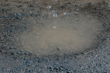 A closeup of a solitary water filled puddle on a dirt road