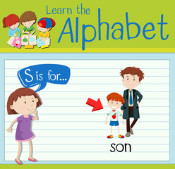 Flashcard letter S is for son