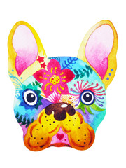 french bulldog sugar skull, frenchie cute dog day of the dead, watercolor painting hand drawn