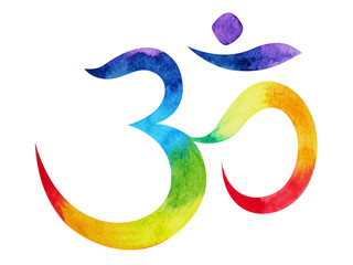 7 color of chakra om, aum symbol concept, watercolor painting hand drawn