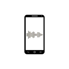 Smartphone sound line icon vector