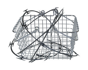 Shopping Basket Wrapped in Razor Wire