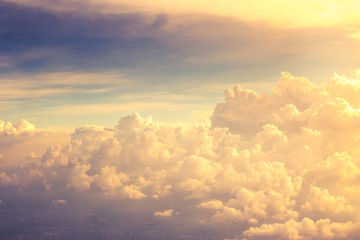Beautiful golden cloud view from plane.
