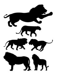 lion wild animal silhouettes. Good use for symbol, logo, mascot, sign, or any design yo want.