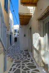 Traditional narrow street in Chora Naxos, Cyclades, Greece.