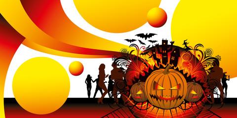 angry halloween pumpkin and dancing people