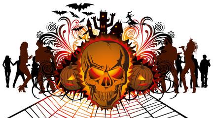 angry halloween skull and dancing people