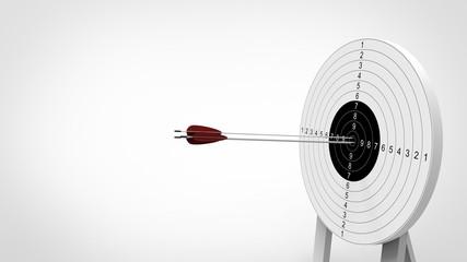 Arrows focus to archery target. 3d illustration.