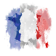 France map Watercolor paint