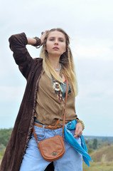 Fashion model dressed as a hippie
